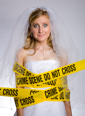 stressed crime scene bride