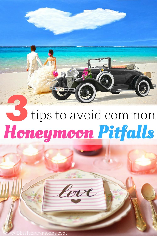 happy couple on beach with cloud heart and car avoid honeymoon pitfalls
