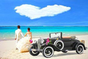 easy honeymoon registry couple on beach heart cloud and classic car